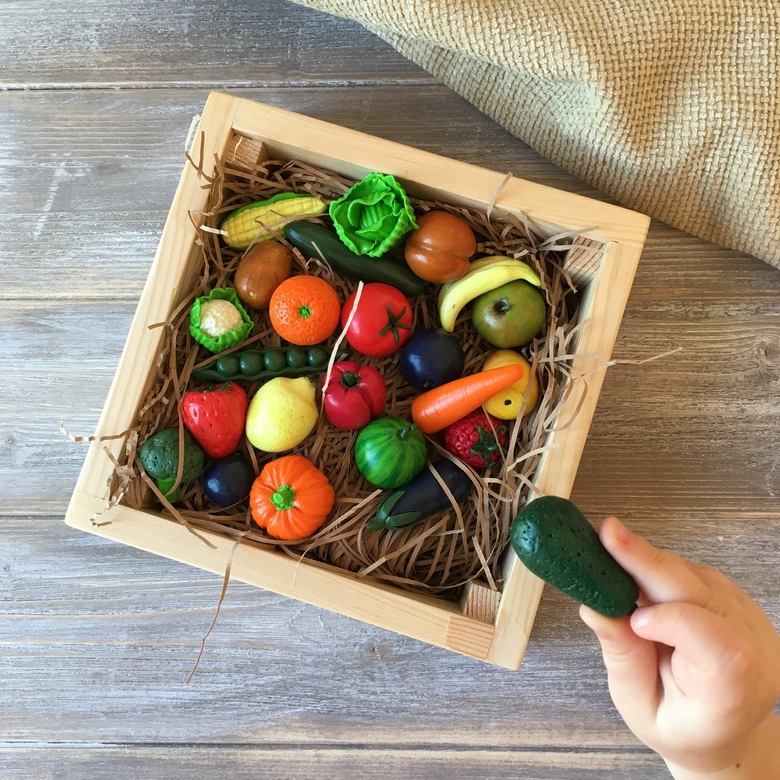 Polymer clay miniature fruits and vegetables gift set