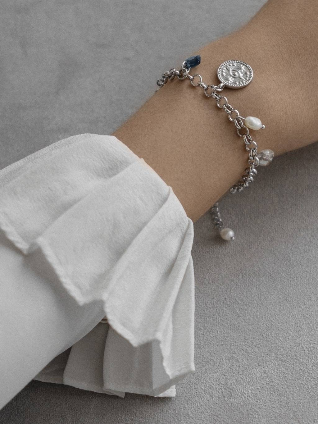 Rhodium Eye Bracelet