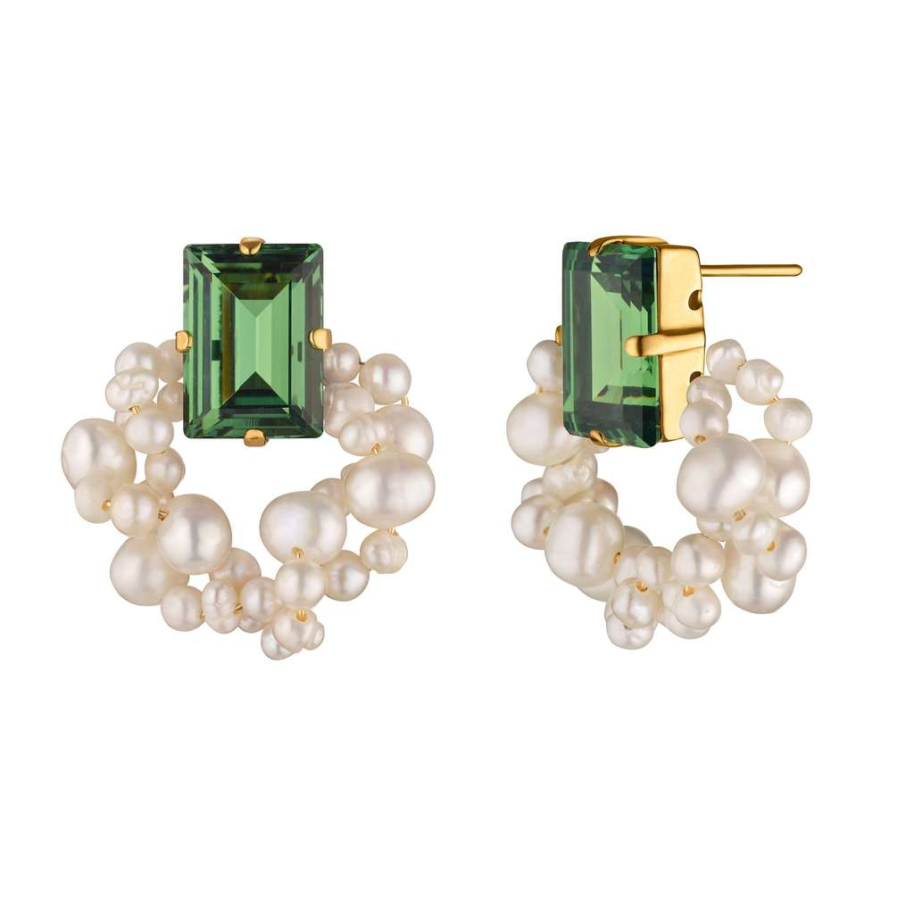 Step Cut Pearl Earrings. Erinite